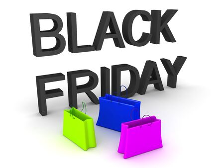 3D Rendering of Black Friday text and shopping bags. 3D Rendering isolated on white.