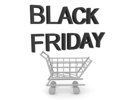 3D Shopping cart with Black Friday Text above it. 3D Rendering isolated on white.
