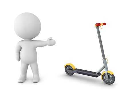 3D Character showing a scooter. 3D Rendering isolated on white.