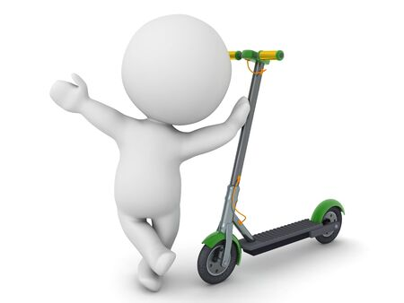 3D Character leaning on scooter. 3D Rendering isolated on white.
