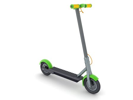 3D Rendering of a scooter with green highlights. 3D Rendering isolated on white.