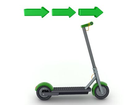 3D Scooter with green arrows above pointing to the right. 3D Rendering isolated on white.