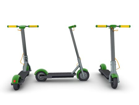 3D Rendering of scooter seen from different angles. 3D Rendering isolated on white.