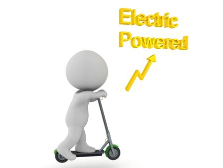 3D Character riding electric powered scooter. 3D Rendering isolated on white.