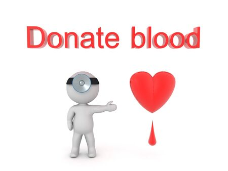 3D Donate blood concept image. Donate blood concept 3D Rendering.