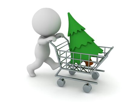 3D Character pushing shopping cart with christmas tree in it. 3D Rendering Isolated on white.