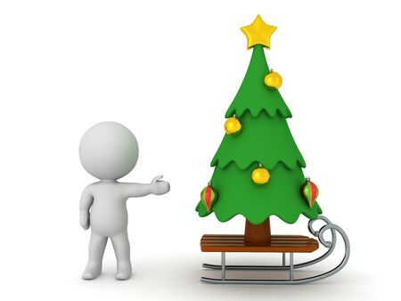 3D Character showing Christmas tree on a sleigh. 3D Rendering Isolated on white.