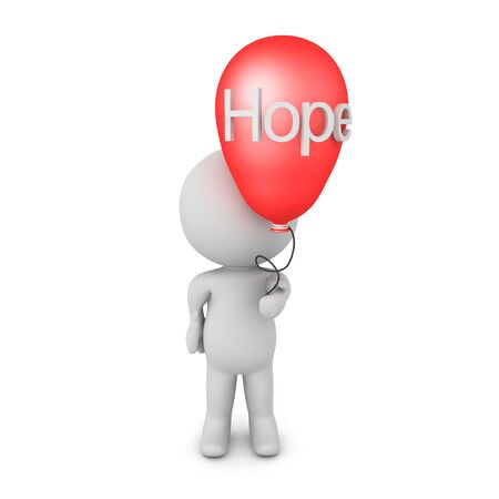 3D Character holding a balloon with the word hope written on it. 3D Rendering Isolated on white.