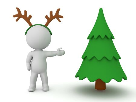3D Character with reindeer antlers showing a basic christmas tree. 3D Rendering Isolated on white. 版權商用圖片