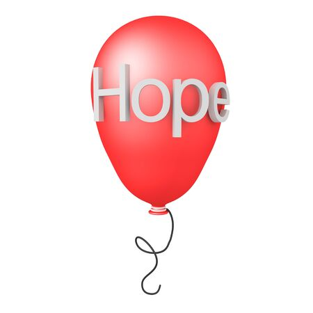 3D Rendering of balloon with the word Hope written on it. 3D Rendering Isolated on white.
