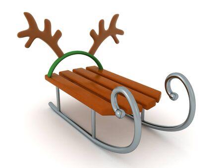 3D Rendering of santa sleigh and reindeer antlers. 3D Rendering Isolated on white.