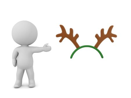 3D Character showing reindeer antlers. 3D Rendering Isolated on white.