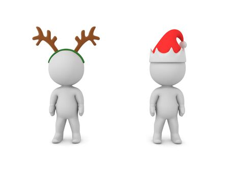 Two 3D Characters, one is wearing reindeer antlers the other santa hat. 3D Rendering Isolated on white.