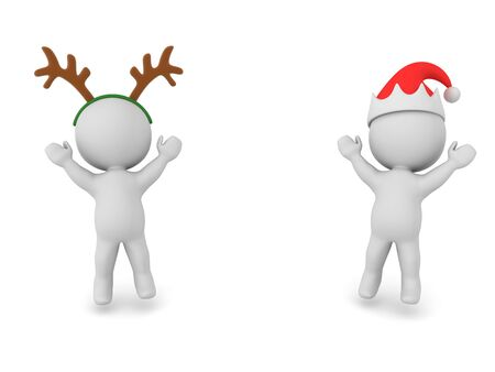 Two happy 3D Characters dressed for christmas. 3D Rendering Isolated on white.