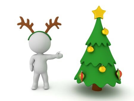 3D Character wearing reindeer antlers is showing a christmas tree. 3D Rendering Isolated on white.