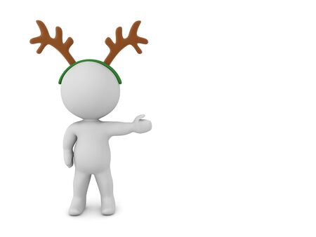 3D Character wearing reindeer antlers is showing to the right. 3D Rendering Isolated on white. 版權商用圖片