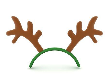 3D Rendering of cute reindeer antlers. 3D Rendering Isolated on white.