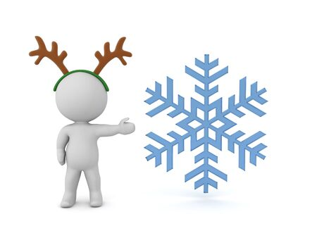 3D Character with reindeer antlers is showing a snowflake. 3D Rendering Isolated on white.