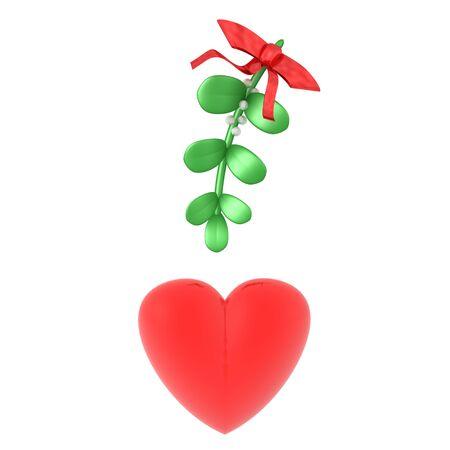 3D Rendering of mistletoe above heart. 3D Rendering Isolated on white.