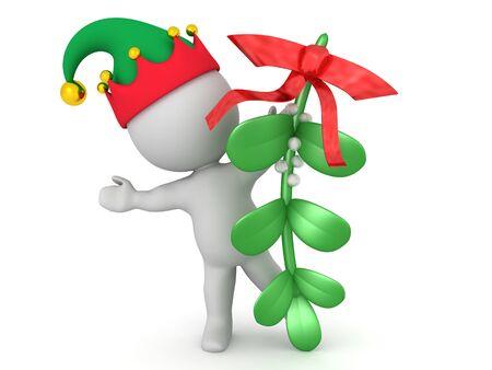 3D Elf hiding behind mistletoe. 3D Rendering Isolated on white.