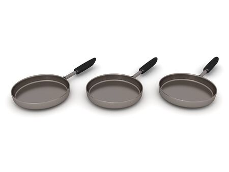 3D Rendering of three frying pans. 3D Rendering Isolated on white.