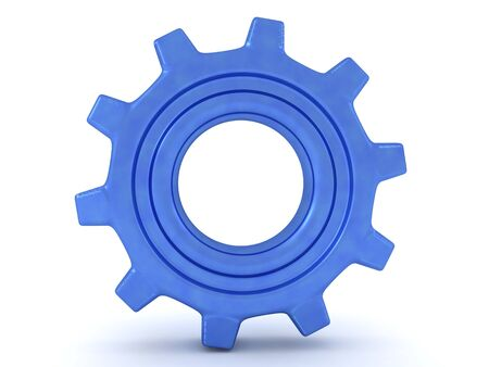 3D Rendering of a shiny blue cog. 3D Rendering Isolated on white. 版權商用圖片
