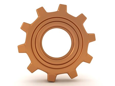 3D Rendering of a shiny bronze cog. 3D Rendering Isolated on white.
