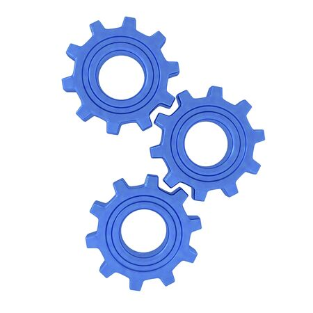 3D Rendering of three gears turning. 3D Rendering Isolated on white.