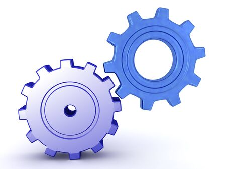 3D Rendering of two different types of gears. 3D Rendering Isolated on white.