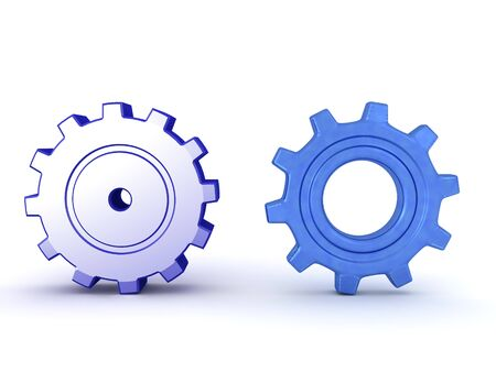 3D Rendering of two blue gears. 3D Rendering Isolated on white.