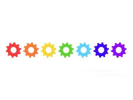 3D Rendering of multiple colored gears. 3D Rendering Isolated on white.