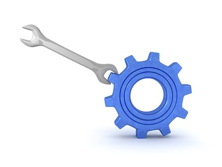 3D Rendering of wrench turning a gear. 3D Rendering Isolated on white.