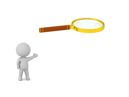 A 3D character is showing a large magnifying glass.
