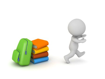 A 3D character is running away from school books and a schoolbag. Isolated on white background.