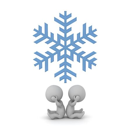 Two upset 3D characters with a big snowflake. Isolated on white background.