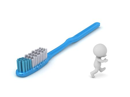 A 3D character is running away from a toothbrush. Isolated on white background. 版權商用圖片