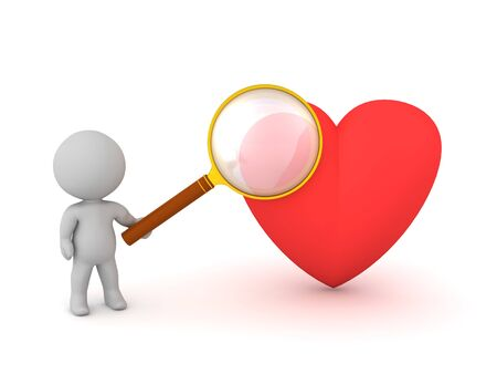 A 3D character with a heart and a magnifying glass. Isolated on white background.