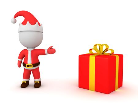 3D Santa Claus showing a present. 3D Rendering Isolated on white.