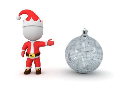 3D Santa Claus showing snowglobe. 3D Rendering Isolated on white.