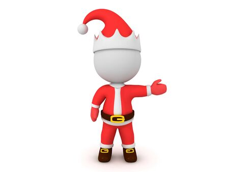 3D Santa showing to the right. 3D Rendering Isolated on white. 版權商用圖片