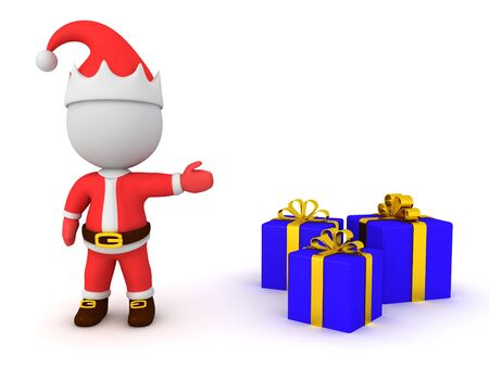 3D Santa Claus showing christmas presents. 3D Rendering Isolated on white.