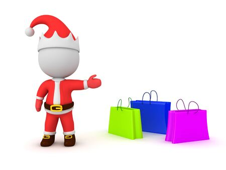 3D Santa Claus showing shopping bags. 3D Rendering Isolated on white. 版權商用圖片