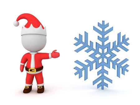 3D Santa Claus showing snowflake. 3D Rendering Isolated on white. 版權商用圖片