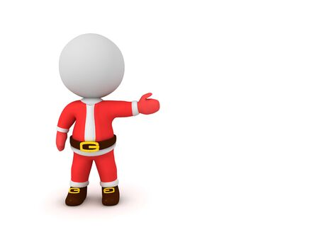 3D Character wearing Santa Claus costume and showing to the right. 3D Rendering Isolated on white.