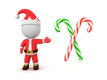 3D Santa Claus showing candy canes. 3D Rendering Isolated on white.