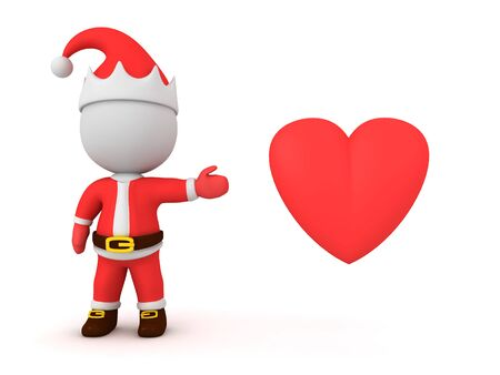 3D Santa Claus showing red cartoon heart. 3D Rendering Isolated on white.