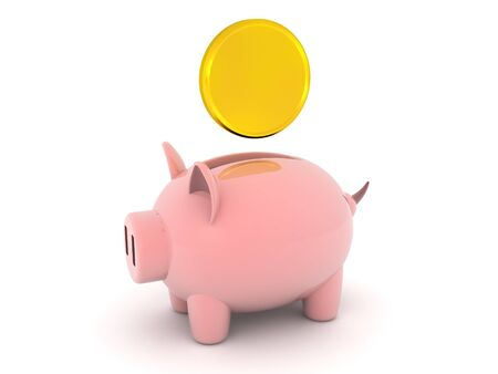 3D Rendering of piggy bank with gold coin about to be inserted. 3D Rendering Isolated on white. 版權商用圖片
