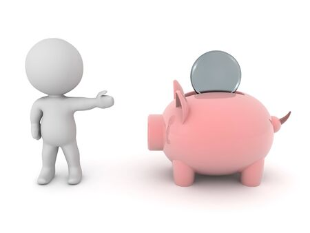 3D Character showing piggy bank with coin in it. 3D Rendering Isolated on white.