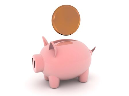 3D Rendering of piggy bank with coin above it. 3D Rendering Isolated on white.
