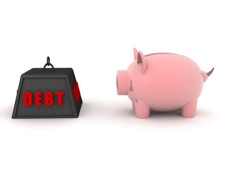 3D Piggy bank and debt weight icon. 3D Rendering Isolated on white.